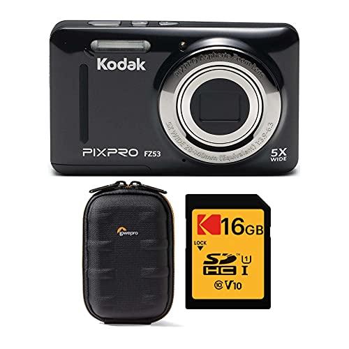 Kodak PIXPRO Friendly Zoom FZ53 Cámara digital (negro) con Lowepro Santiago 20 II y paquete de tarjetas SD de 16 GB (3 artículos)