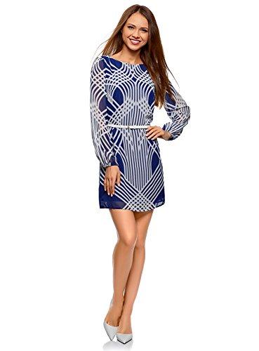 oodji Ultra Damen Chiffon-Kleid mit Gürtel, Blau, DE 34 / EU 36 / XS