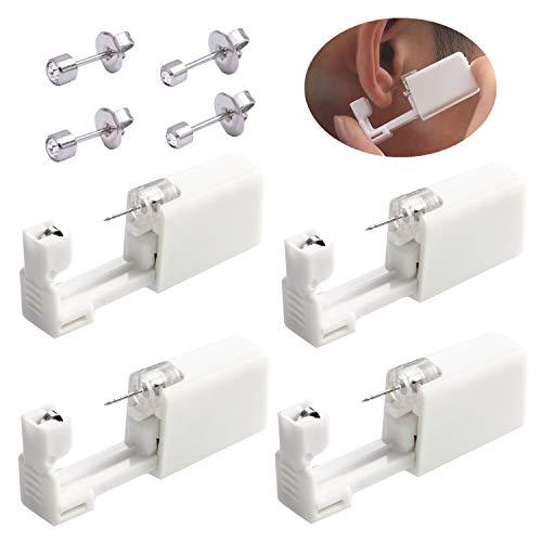 Set di 4 piercing per orecchio usa e getta, per aspsi, indolore, con 4 orecchini