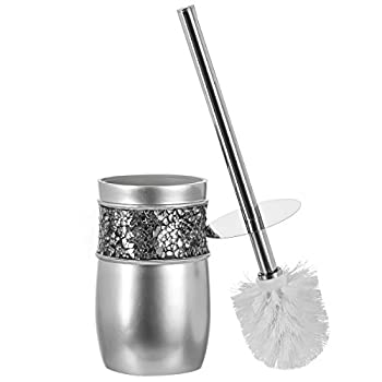 Creative Scents Toilet Brush with Holder - Toilet Bowl Cleaner Brush and Holder - Good Grip Deep Cleaning Decorative Design Compact Toilet Bowl Scrubber  Silver