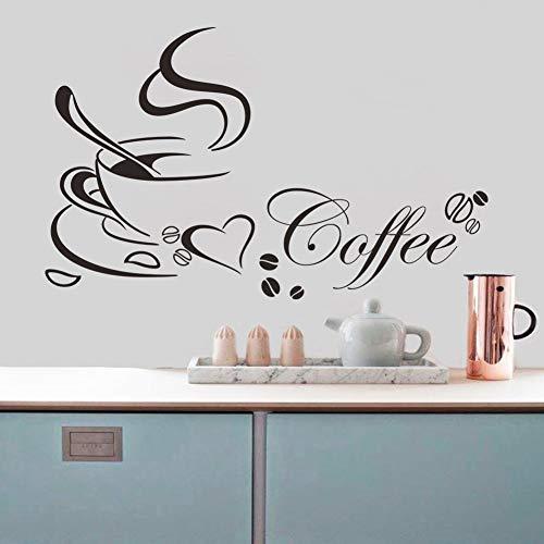 HYSJLS La Taza de café con el corazón Vinilo Restaurante de Cocina extraíble Pegatinas de Pared DIY decoración de la Pared Arte Mural Autoadhesivo