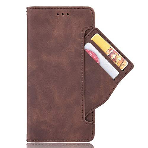 zl one Compatível com/Substituição para Capa de telefone Motorola Moto G9 Power PU Leather Protection Card Slots Wallet Case Flip Cover (Brown)