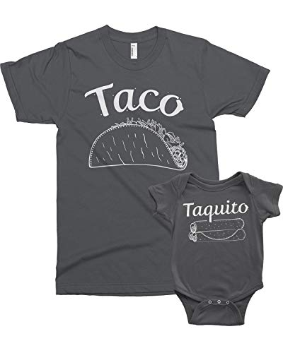 Threadrock Taco & Taquito Infant Bodysuit & Men's T-Shirt Matching Set (Baby: 12M, Charcoal Men's: XL, Charcoal)