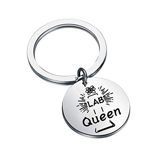 SEIRAA Lab Tech Gifts for Women Medical Technician Key Ring Gift Lab Week Gifts Lab Queen Biologist Microscope Jewelry (LAB Keychain)
