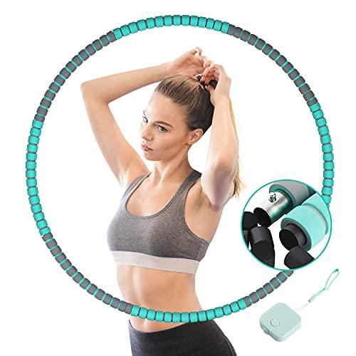 Hula Hoop Reifen Erwachsene, 8 Segmente Abnehmbarer Edelstahlkern Fitness Hoola Hoop Reifen zur Gewichtsabnahme, Ausbildung und Massage, Kommt mit Mini-Maßband (Grün)