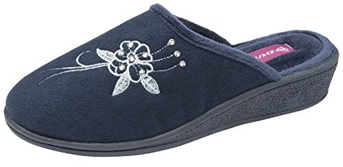 Dunlop - Rhoda - Pantuflas de terciopelo para mujer, color Azul, talla...