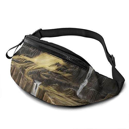 Gkf Waist Pack Bag for Men&Women, Fantasy Waterfall Castle Cliff Utility Hip Pack Bag with Adjustable Strap for Workout Traveling Casual Running