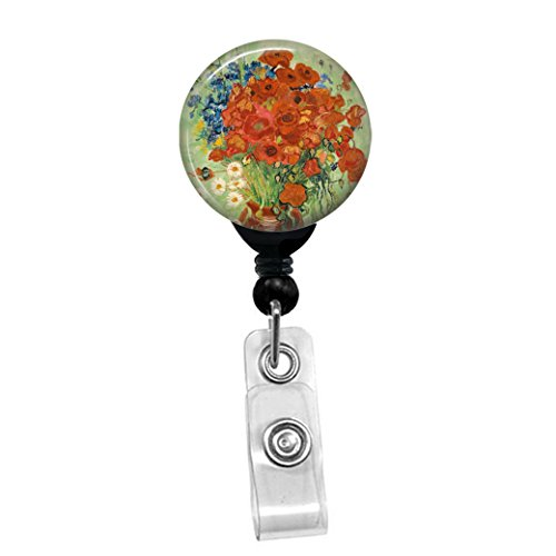 Vincent Van Gogh - Red Poppies And Daisies - Flowers In A Vase - Retractable Badge Reel - ID Name Tag Custom Badge Holder (Black Badge Reel with Spring Pinch Clip)