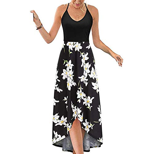 Ounice Women's V Neck Sleeveless Casual Summer Sundresses Floral Maxi Dresses (White, XL)