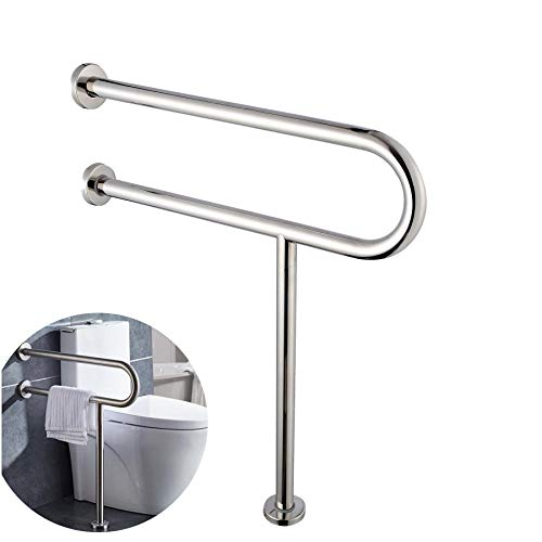 FlySkip Toilet Grab Bar,24Inch Stainless Steel Handicap Grab Bar Rail, Wall Mounted Bathroom Shower Safety Support Bar, Non Slip Hand Grips for Disabled Elderly Handicapped Pregnant Woman