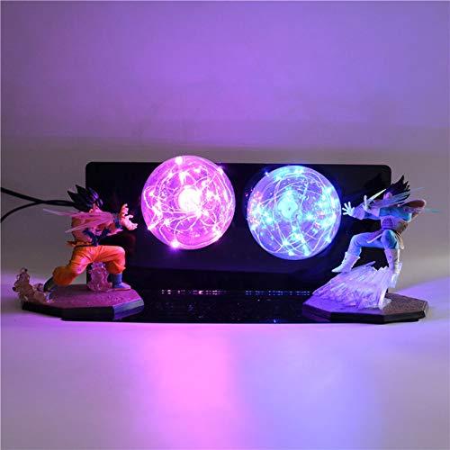 Luz de noche Dragon Ball Z Goku vs Vegeta lámpara 3D DBZ LED Anime Luminaria niños bebé DIY lámpara de mesa de noche para dormitorio
