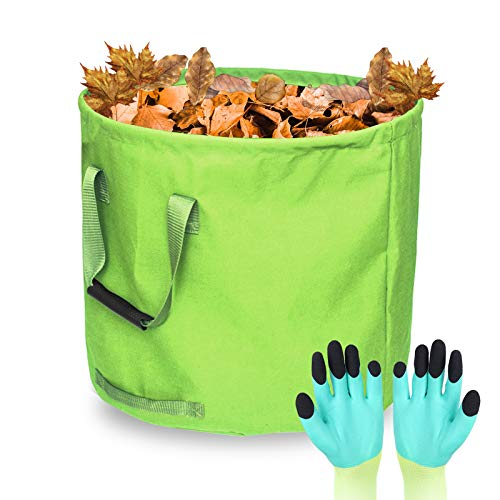 Gartensack, 125L Gartenabfallsack aus Premium Oxford Selbststehend und Faltbar - Abfallsäcke für Gartenabfälle Laub Rasen Pflanz Grünschnitt (Geschenk 1 Paar Gartenhandschuhe)