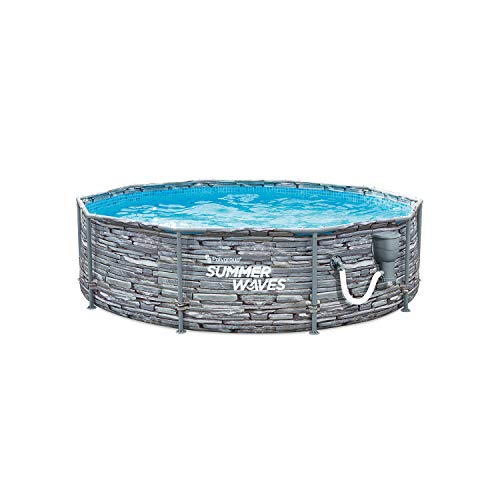 Summer Waves P2W01030A 10 Foot Diameter Round Stone Slate Print Metal Frame Above Ground Back Yard Family Swimming Pool w/ SFX330 SkimmerPlus Filter Pump, Repair Patch, & Type 1 Filter Cartridge, Grey -  Polygroup