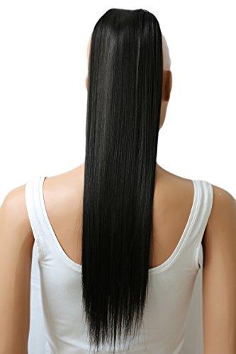 PRETTYSHOP 60cm Haarteil Zopf Pferdeschwanz Haarverlängerung Glatt Naturschwarz HC14