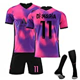 HRZHYHB Camiseta De Fútbol Paris Away Camisetas De Fútbol Rosa Morado Camiseta y Pantalón Calcetín Corta EntrenamientoNiños Deportivo para Adultos 7#10#11#