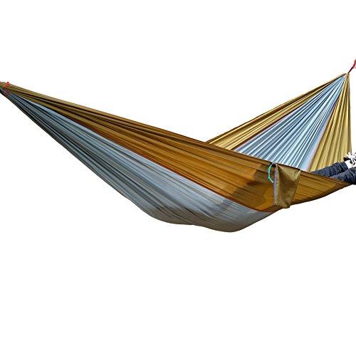 dljztrade Fashion Garten Outdoor Camping Strand Schaukel Schlafbett Tragbare Nylon Fallschirmhängematte (1Set), Grey + Camel
