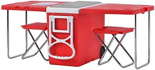 XBR New Cooler Box con Ruedas, Mesa Plegable, 2 taburetes Mesa de Picnic Grande para Camping/Playa/Barbacoa/Pesca Mesa Extensible Familiar, 28L (45-Can), Rojo