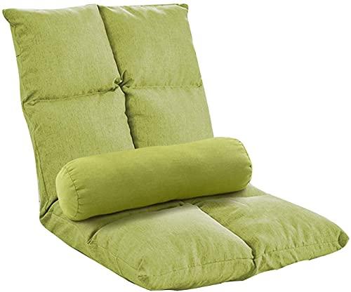 Lazy Sofa Lounge Chair con Asiento Lazy con Respaldo Alto y Funda de Base extraíble Silla de Juego Plegable de 5 ángulos para Adultos para Lectura y visualización de televisión (Color: Verde