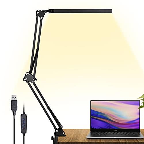 GUUKIN LED Schreibtischlampe mit Klemmbar, Dimmbar USB Architektenlampe Tischlampe mit Schwenkarm, 3 Farbtemperaturen 10 Helligkeiten Bürotischlampe für Büro Lesen Studieren