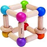 PlanToys Wooden Square Clutching Baby Toy (5245)   Sustainably Made from Rubberwood and Non-Toxic Paints and Dyes