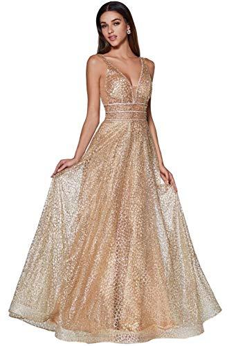 Meier Women's Glitter Tulle Double V-Neck A-Line Prom Formal Gown (Gold, 8)