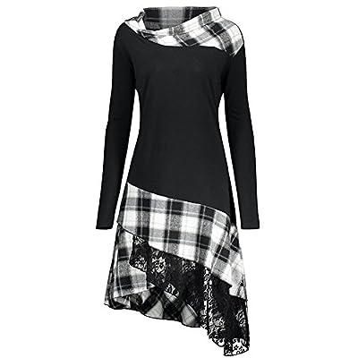 Lurdarin Womens Skew Neck Long Sleeve Asymmetrical Vintage Plaid Dresses Scottish Style Casual Shirt Blouse Midi Dress