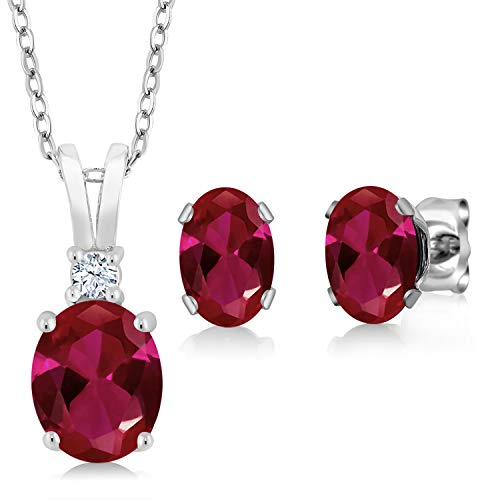 Gem Stone King 925 Sterling Silver Red Created Ruby Pendant Earrings Set 3.48 Ct Oval with 18 Inch Silver Chain