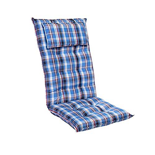 Homeoutfit24 Sylt - Cojín Acolchado para sillas de jardín, Hecho en Europa, Respaldo Alto con cojín de Cabeza extraíble, Resistente Rayos UV, Poliéster, 120 x 50 x 9 cm, 1 Unidad, Azúl/Blanco