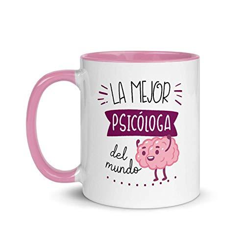 Kembilove Taza de Desayuno de la Mejor Psicóloga del Mundo – Tazas de Café de Profesiones, Profesionales y Trabajadores para la Oficina – Tazas de Té con Interior en Color – Taza de Cerámica de 350 Ml