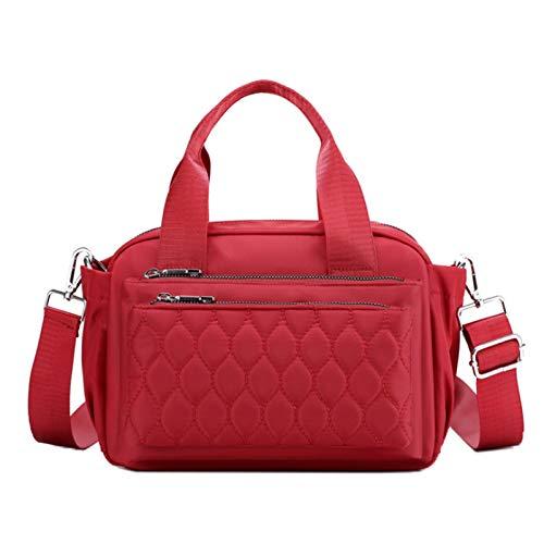 Bolso De Nailon Para Mujer Bolso De Hombro Ligero Bolso Diagonal Bolso De Viaje Bolso De Mamá Cartera(Size:26 * 11 * 15cm,Color:rojo)