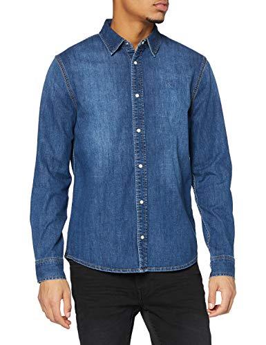 Calvin Klein Slim Foundation Shirt Camisa, Bb056/Azul Medio, L para Hombre