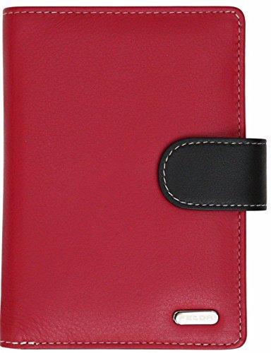 Felda - Damen Geldbörse mit 23 Kartenfächern & Münzfach - RFID-Blocker - aus Echtleder - groß - Rot Mehrfarbig