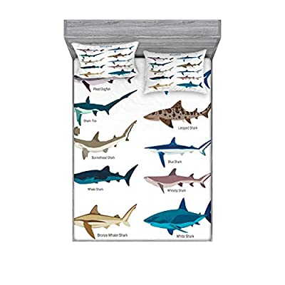 Ambesonne Shark Fitted Sheet & Pillow Sham Set, Types of Sharks Pattern Whaler Piked Dogfish Whlae Shark Maritime Design Nautical, Decorative Printed 3 Piece Bedding Decor Set, Queen, Blue Tan