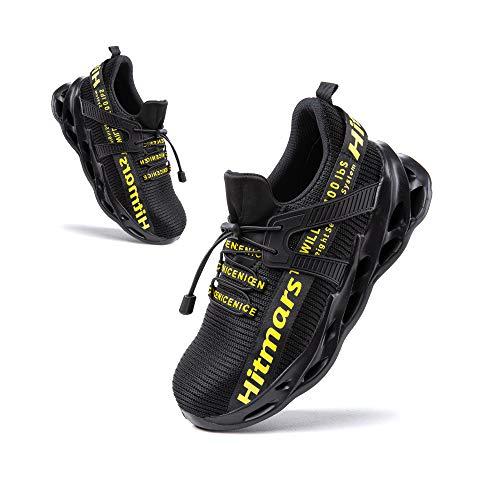 Zapatos de Seguridad Hombre Punta de Acero Botas de Seguridad Mujer Deportiva Zapatillas Trabajo Unisex Antideslizante Respirable Amarillo Talla 43