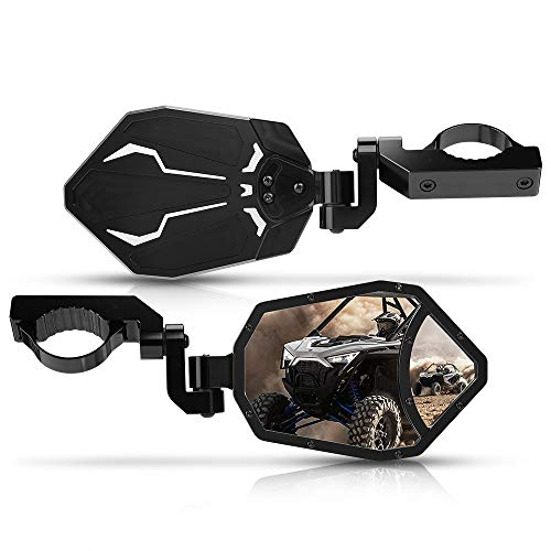 UTV Rear View Side Mirrors, kemimoto 3 Adjustment Methods CNC Mirrors with Convex Mirror Compatible with 2021 Polaris RZR PRO XP, Can Am Maverick X3 or 1.6'-2' Roll Bar