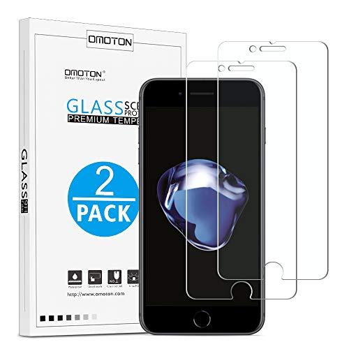 OMOTON Protection Ecran pour iPhone 7 Plus/8 Plus Verre Trempé [9H, sans Bulles, Anti-Rayures] Film Protecteur pour iPhone 7 Plus/8 Plus [5.5 Pouces]