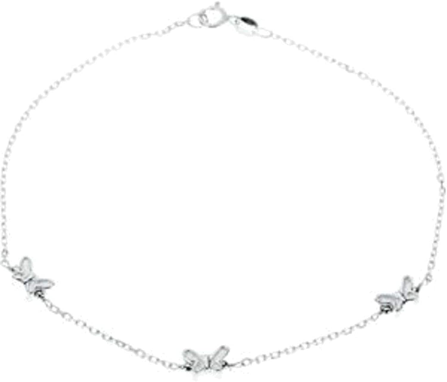 10 Sterling Silver Butterfly Anklet