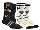 PKWY Unisex 2-Pack MLB Pittsburgh Pirates Mixed Crew Socks (Large (Men's 6-12/Women's 8-12), Stacked & Mix Crew)