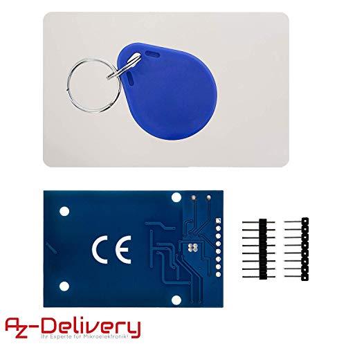 AZDelivery 5 x RFID Kit RC522 mit Reader, Chip und Card 13,56MHz I2C IIC SPI kompatibel mit Arduino und Raspberry Pi inklusive E-Book!