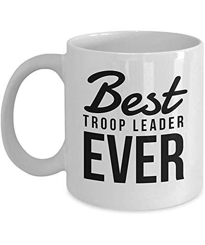 Divertida taza de café, regalo de líder scout - Mejor troop líder de siempre, taza de té de cerámica blanca, taza de té de 11 onzas, regalo divertido para la apreciación de los líderes