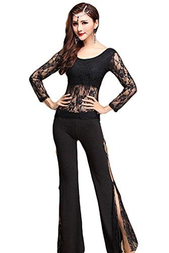 YiJee Donna Danza indiana di cintura Lace Costume Belly Dance Top Pantaloni medio Nero