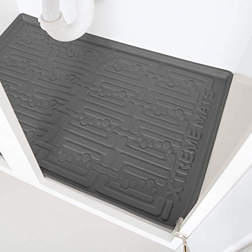 Xtreme Mats Under Sink Bathroom Cabinet Mat, Pick Your Size, 34' x 19', Waterproof Cabinet Protector Liner, CMV-36-GREY
