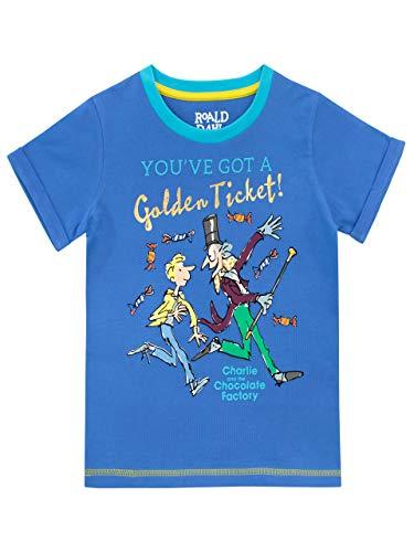 Roald Dahl Maglietta Maniche Corta per Ragazzi La Fabbrica di Cioccolato Blue 9-10 Anni