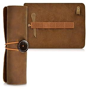 kalibri Estuche de cuero enrollable para lápices en marrón – Portalápices de cuero auténtico funda para lápices pinceles – Cubierta vintage