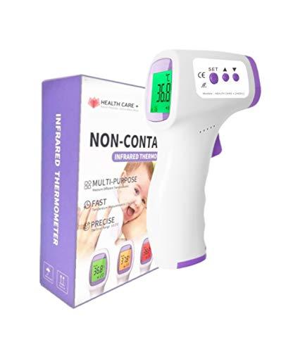 HEALTH CARE+ - Termómetro de infrarrojos para adultos y niños - Alta precisión - Alerta fiebre - Función memoria - 2 modos: cuerpo y objetos. ⭐