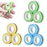 9 Pcs Magnetic Rings Fidget Toys for Adults and Children- Glow in The Dark, Pack of 9, Finger Fidget Ring for Anxiety, ADHD and Stress, Cool Neodymium Magnet Spinner -Green, Yellow and Blue