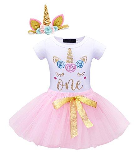 Edjude Baby Mädchen Einhorn Regenbogen Tutu Rock Mädchen Tanz Ballett Partykleid 1. Geburtstag Outfit Strampler Tüll Tutu Kleid 3Pcs Outfits Pink