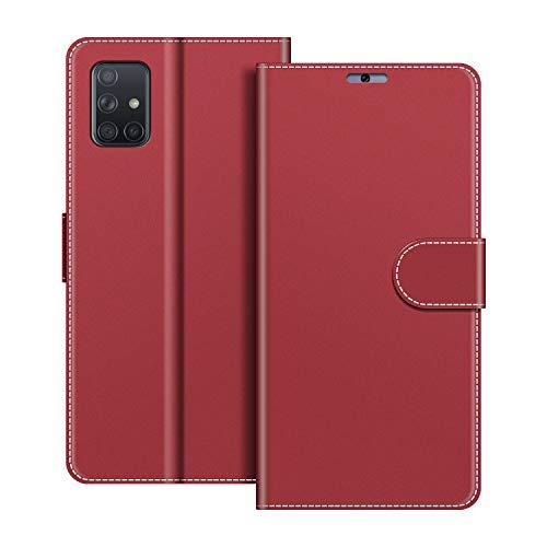 COODIO Handyhülle für Samsung Galaxy A51 Handy Hülle, Samsung Galaxy A51 Hülle Leder Handytasche für Samsung Galaxy A51 Klapphülle Tasche, Rot