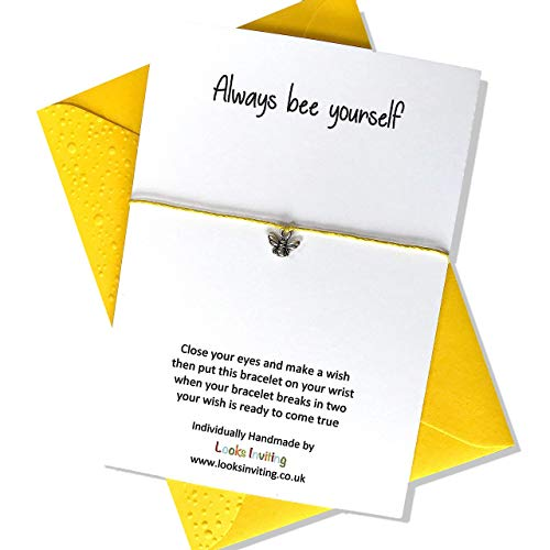 Bee Wish Bracelet Gift. Always Bee Yourself. Choose your colour of cord and envelope