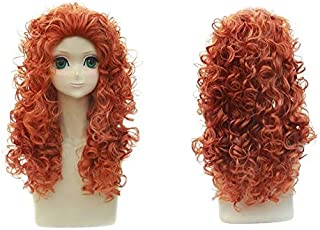 2019 fashion Movie Brave Long Curly Princess Merida Cosplay peluca para la fiesta de Halloween Juego de roles pelucas ondu...